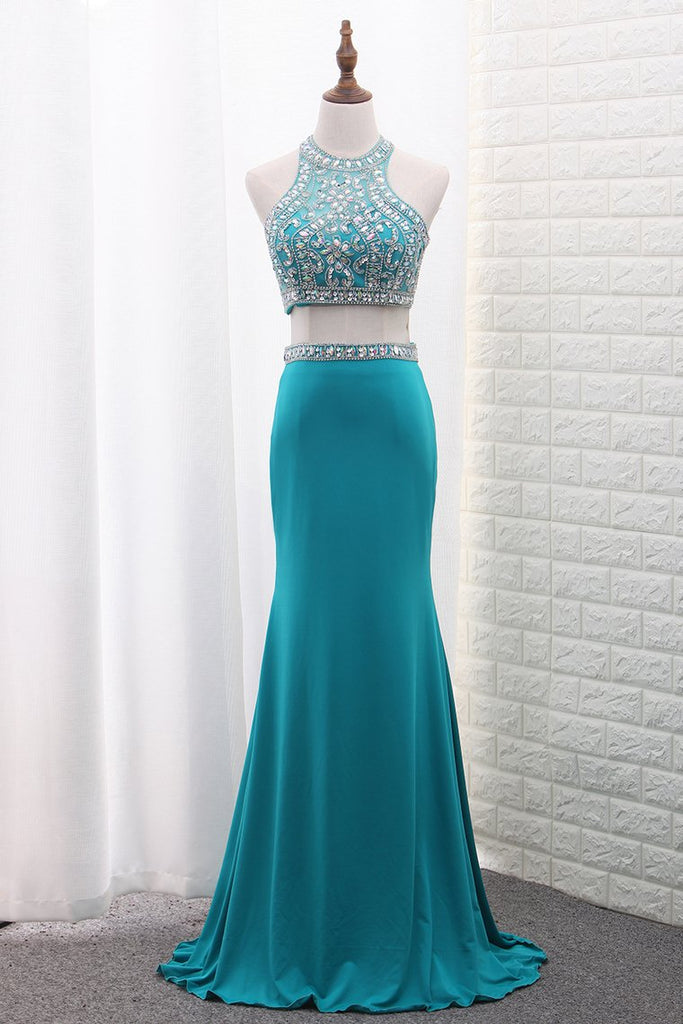 2019 Spandex Mermaid Two-Piece Scoop Prom Dresses Beaded Bodice