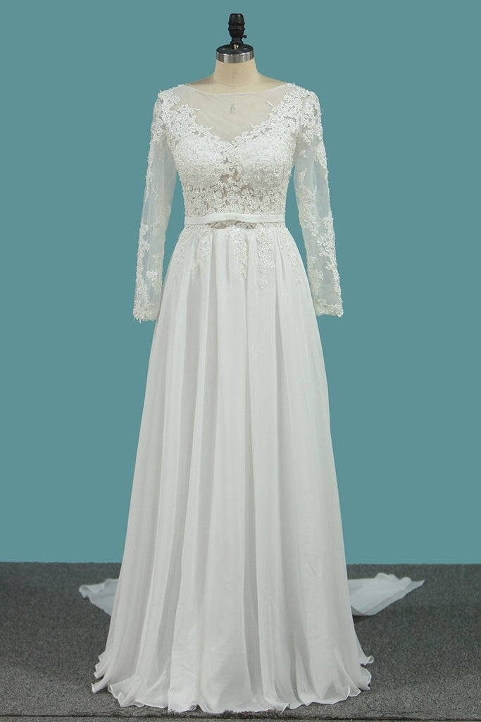 2019 Long Sleeves A Line Scoop Wedding Dresses With Applique And Sash
