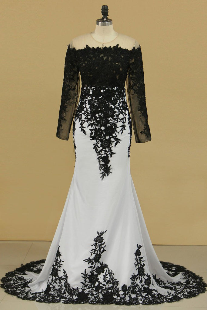 Sheath Prom Dresses Scoop Long Sleeves Spandex With Applique