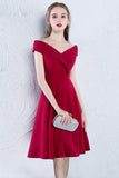 Cute A Line Red Off the Shoulder Satin Sweetheart Knee Length Homecoming Dresses WK898