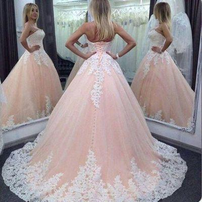Vintage Ball Gown Sweetheart Pink Lace Appliques Tulle Long Quinceanera Dresses WK93