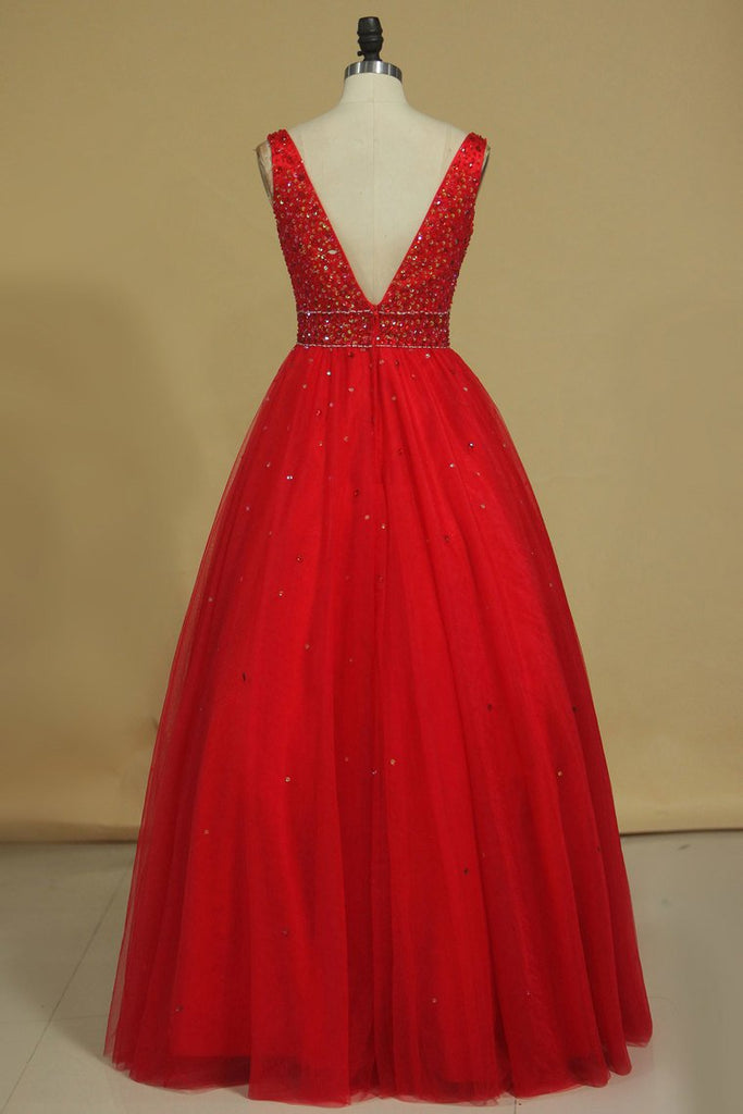 Ball Gown Straps Beaded Bodice Prom Dresses Floor Length Tulle