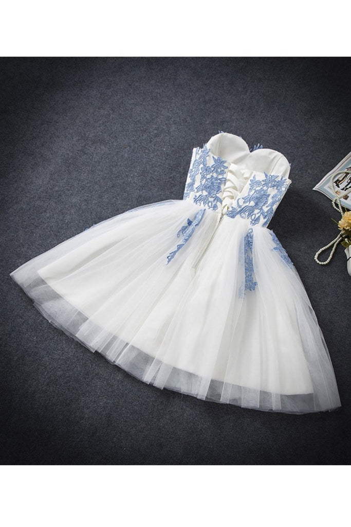 2019 A Line Sweetheart Tulle With Applique Short/Mini Homecoming Dresses