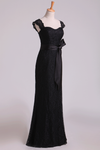 2019 Black Off The Shoulder Bridesmaid Dresses Sheath Floor Length Lace