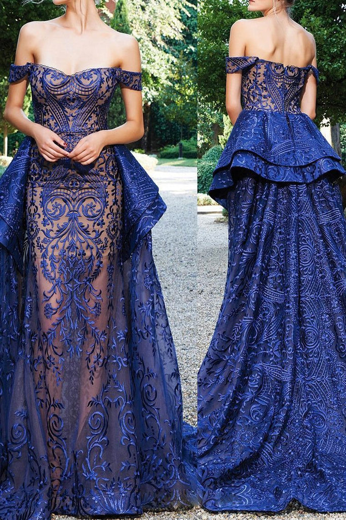 2019 Luxurious Mermaid Off The Shoulder Prom Dresses Lace Sweep Train