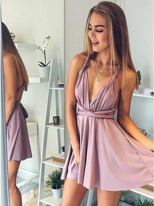 A-Line Deep V-Neck Backless Short Blush Pleats Open Back Convertible Homecoming Dress WK661