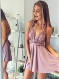 A Line Deep V Neck Above Knee Blush Pink Criss Cross Chiffon Homecoming Dresses WK840