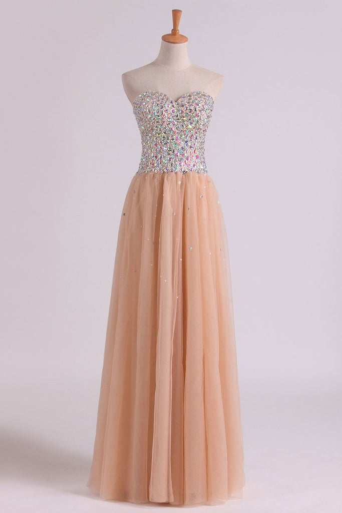 2019 Sweetheart A-Line Prom Gown With Colorful Rhinestone Beaded Bodice Tulle