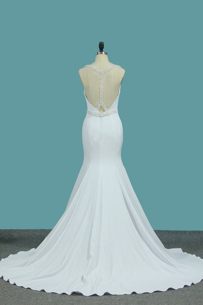 2019 Scoop Mermaid Wedding Dresses Spandex With Beading Open Back
