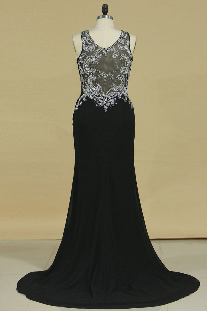 Prom Dresses Sheath Scoop Chiffon With Beads And Slit Sweep Train