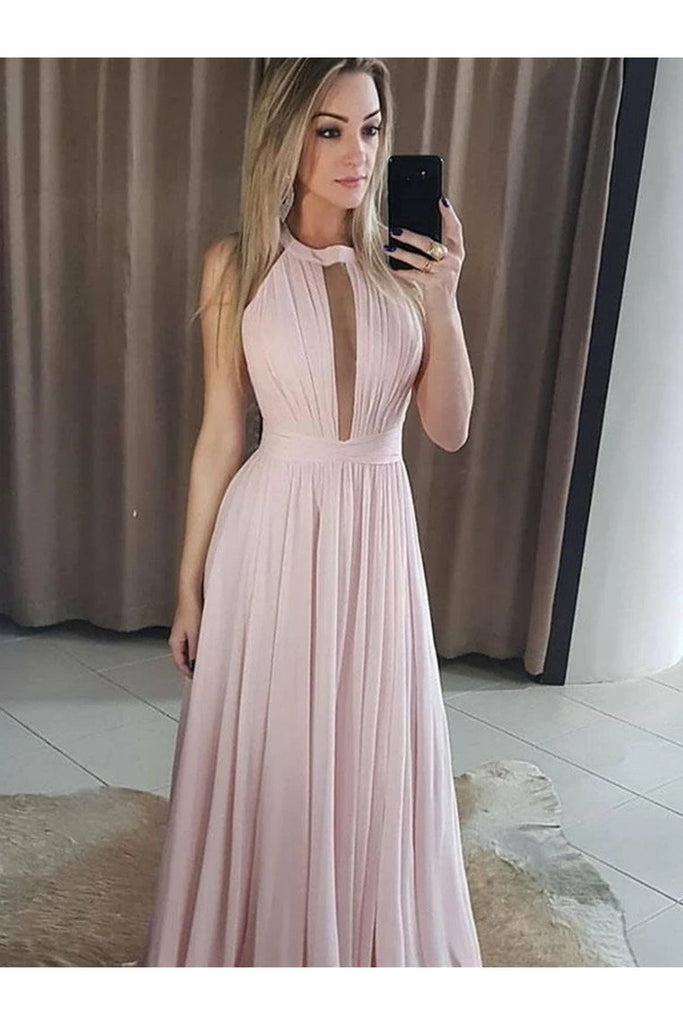 Round Neck Chiffon Prom Dresses Bridesmaid Dresses Ruffles