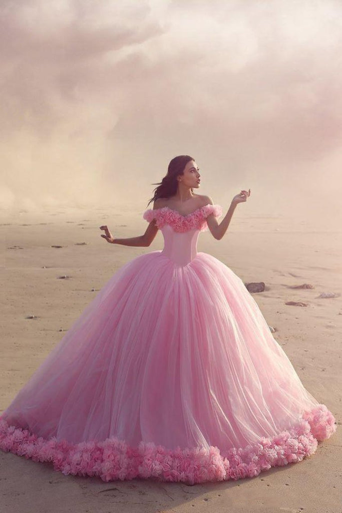 2019 Off The Shoulder Ball Gown Quinceanera Dresses Tulle With Handmade Flower