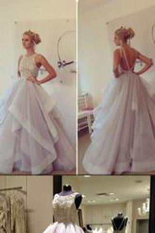 Backless Glamorous Ball Gown Lace Puffy Tulle Long Sexy Evening Gowns For Teens Juniors Dress WK87