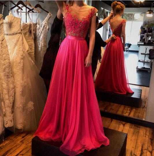 A-Line See-Through Neckline Appliques Chiffon Red Lace Backless Beads Prom Dresses WK316