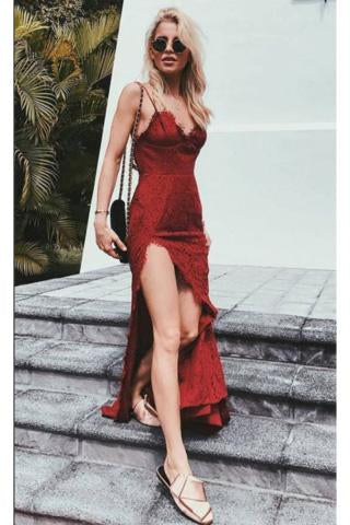 Charming Burgundy Lace Spaghetti Straps Long V-Neck Prom Dresses With Sexy Slit WK375