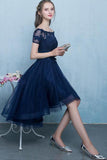 Dark Blue Lace Tulle Short Sleeve High Low Round Neck A-Line Short Prom Dresses WK408