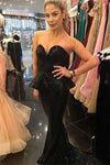 Sequin Court Train Black Sweetheart Strapless Sleeveless Mermaid Gorgeous Prom Dresses WK253