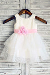 Ball Gown Scoop Neck Tulle Ivory Elastic Woven Satin Short Mini Tiered Flower Girl Dresses WK735