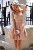 A Line Sweetheart Spaghetti Straps Pink with Lace Appliques Homecoming Dresses WK999