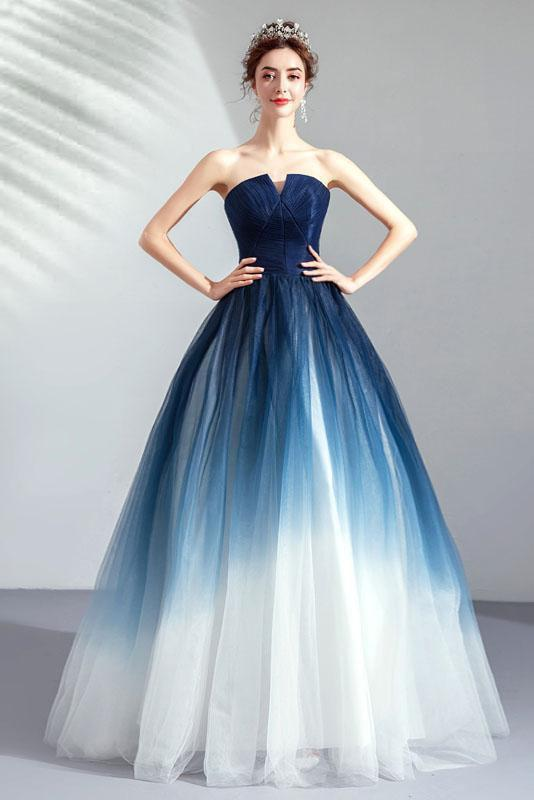 Ombre Strapless A Line Long Prom Dress Blue Ombre Graduation Dress with Lace Up Back WK875