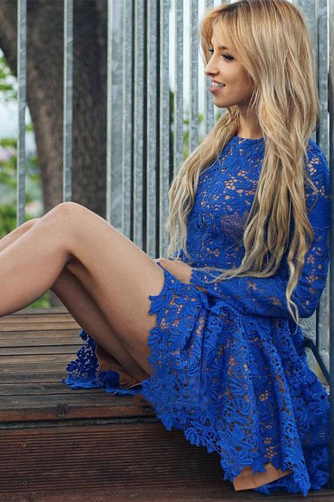 Cute A Line Round Neck Long Sleeves Royal Blue Lace Appliques Short Homecoming Dresses WK982