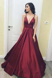 Burgundy Simple A-Line Satin V-Neck Spaghetti Straps Long Floor Length Evening Dresses WK285