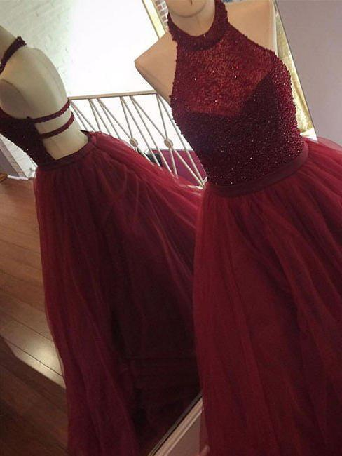 A Line Halter Tulle Burgundy Beads Sleeveless Long Party Dresses Prom Dresses WK75