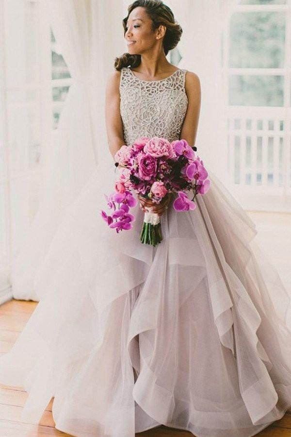 2020 A line Scoop Neckline Organza Long Custom Affordable Open Back Wedding Dresses WK216