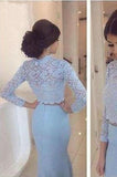 Baby Blue Lace Two Pieces Mermaid Long Sleeve Sexy Prom Dress Dresses for Prom uk PD190446