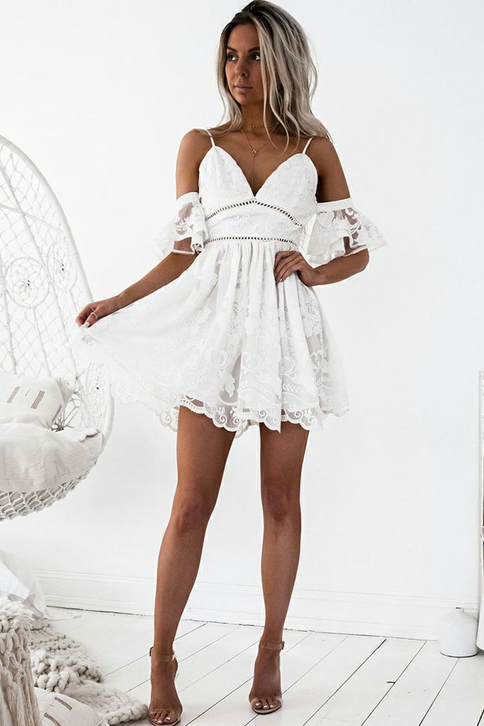 A-Line Spaghetti Straps Short White Lace Sleeveless Homecoming Dress with Ruffles WK298