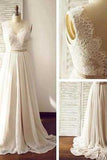 Charming Backless A-Line Open Back Sleeveless Long Chiffon White V-Neck Prom Dresses WK826