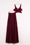 Elegant Two Pieces A-line V Neck Floor-length Burgundy Chiffon Cheap Prom Dresses WK671