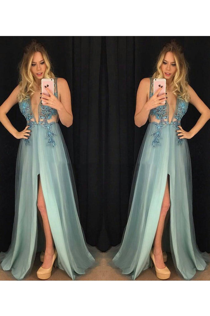 2019 V-Neck Prom Dresses A Line Tulle With Applique And Slit