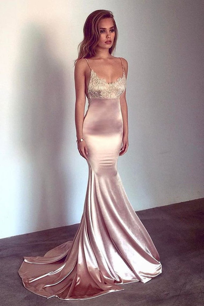 2019 Spaghetti Straps Evening Dresses Mermaid With Applique Open Back