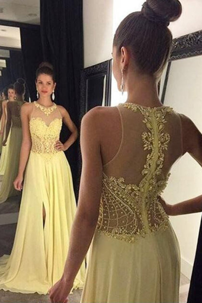 2019 Prom Dresses A Line Scoop Chiffon Sweep Train With Beads And Slit