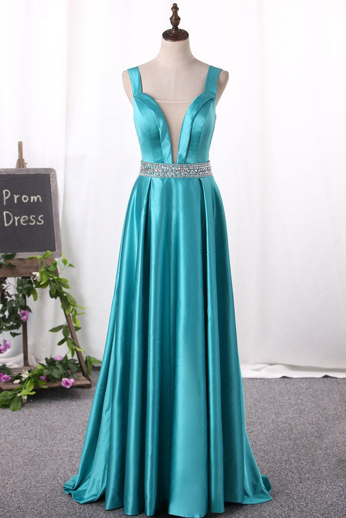 2019 New Arrival A Line Prom Dresses Straps Satin With Beading
