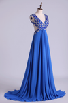 2019 V-Neck Prom Dresses A Line Chiffon With Beading