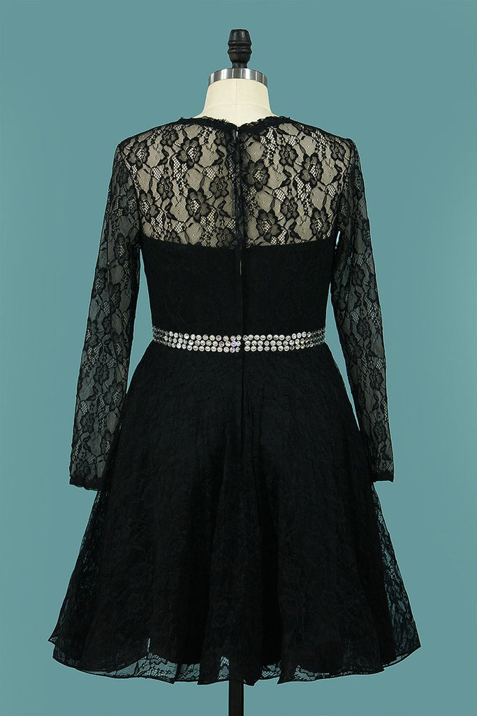 Scoop Long Sleeves Lace Cocktail Dresses A Line Short/Mini