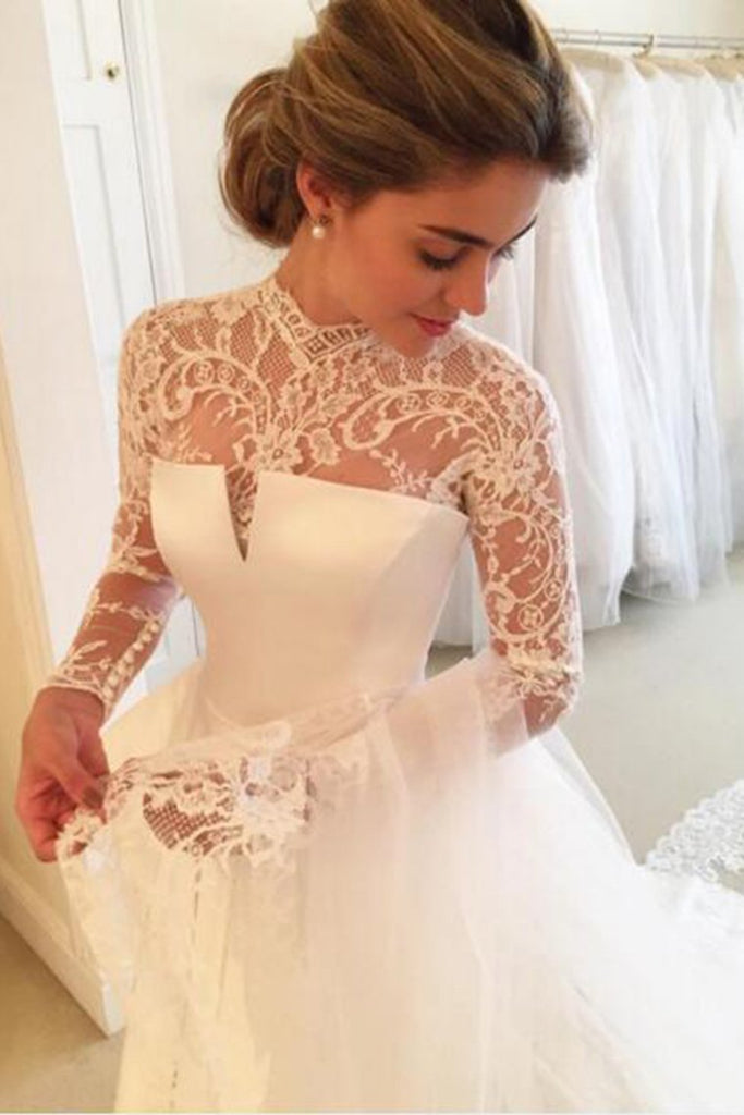 2019 High Neck Open Back Long Sleeves Wedding Dresses A Line Satin