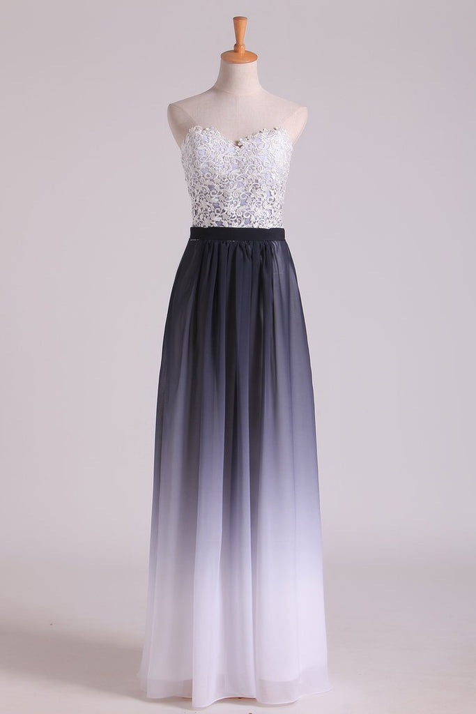 Gradient Color Sweetheart Prom Dresses A Line Chiffon Floor Length With Applique