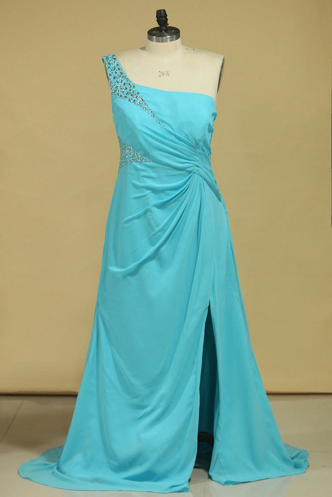 2019 Prom Dresses One Shoulder With Slit And Beads Chiffon