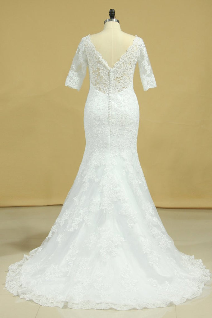 Mermaid Wedding Dresses V-Neck 3/4 Sleeves Court Train Tulle V-Back With Covered Button