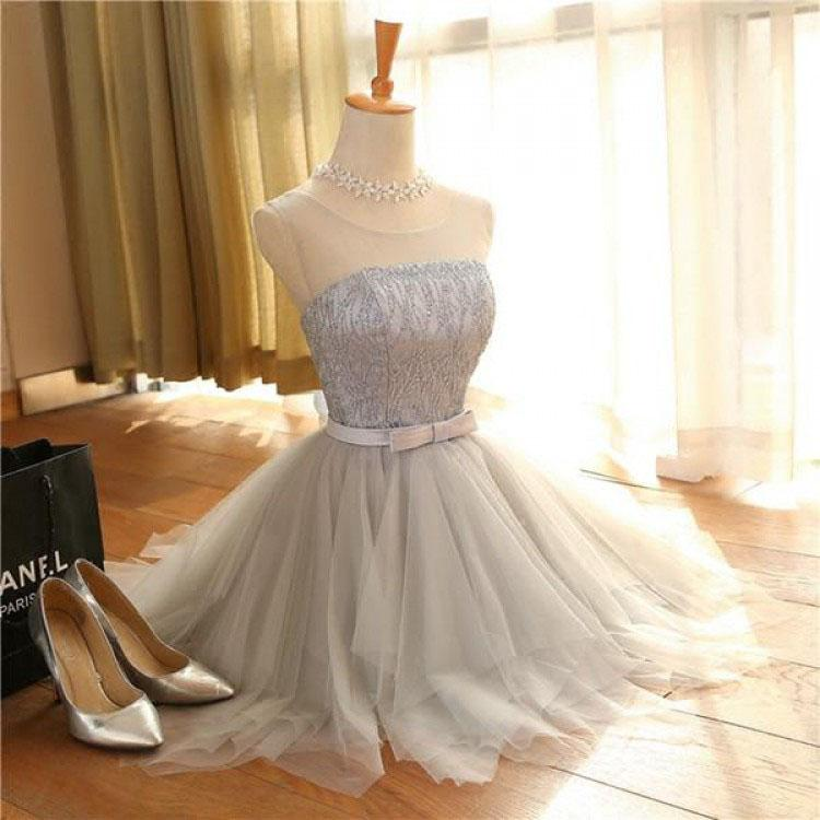 Cute A Line Sleeveless Scoop Short Silver Lace up Tulle Homecoming Dresses with Bowknot WK589