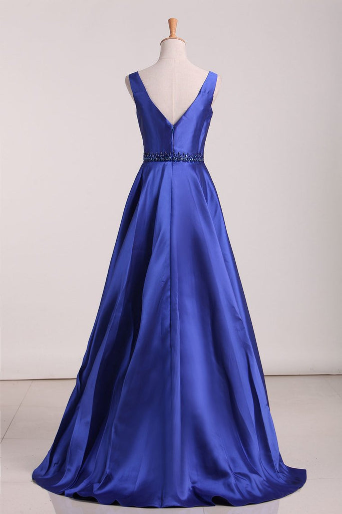 2019 A Line Prom Dresses Straps Beaded Waistline Satin Floor Length