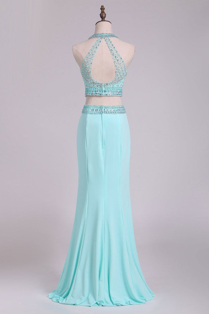 2019 Two-Piece Halter Beaded Bodice Open Back Prom Dresses Spandex Sheath