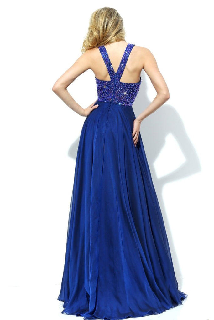 Scoop Prom Dresses Chiffon With Beading A Line Sweep Train