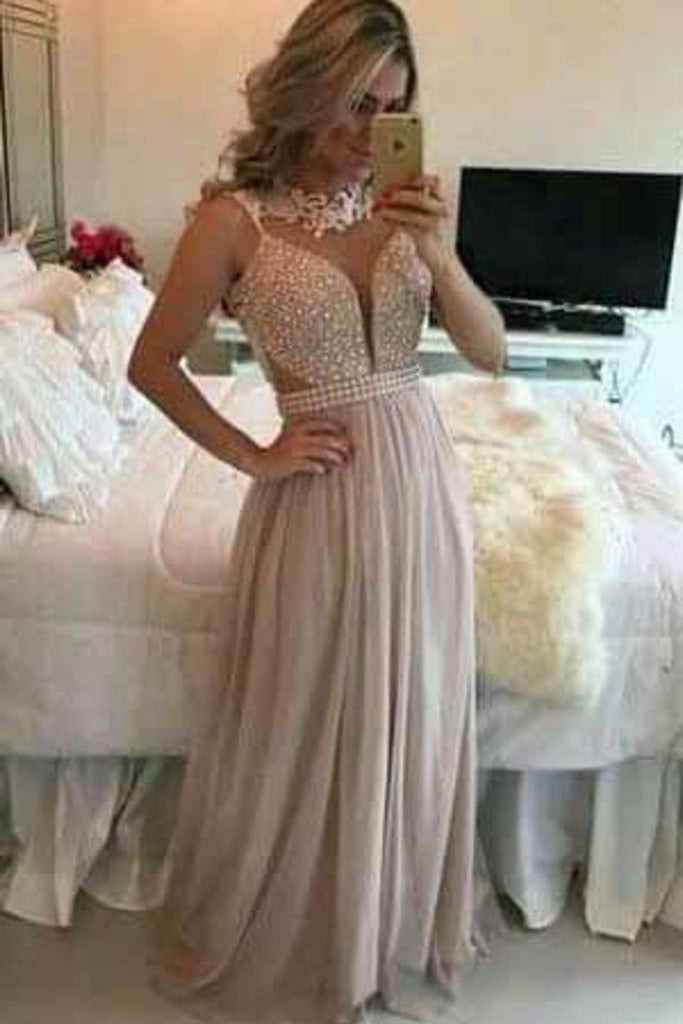 2019 New Arrival Scoop Beaded Bodice Chiffon A Line Prom Dresses