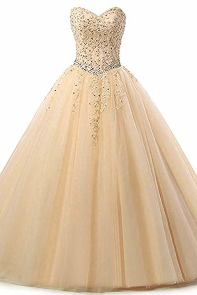 Tulle Beading Sweetheart Neck A Line Sleeveless Wedding Bridesmaid Long Evening  Festive Party Dress