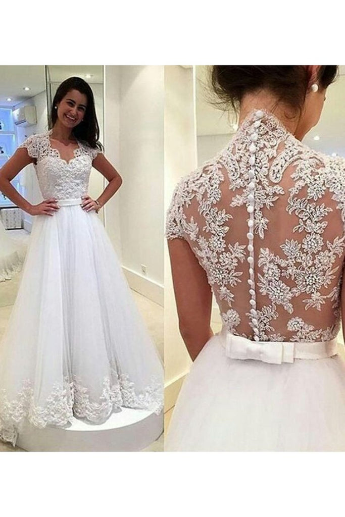 2019 A Line V Neck Wedding Dresses Tulle With Applique And Sash Sweep Train