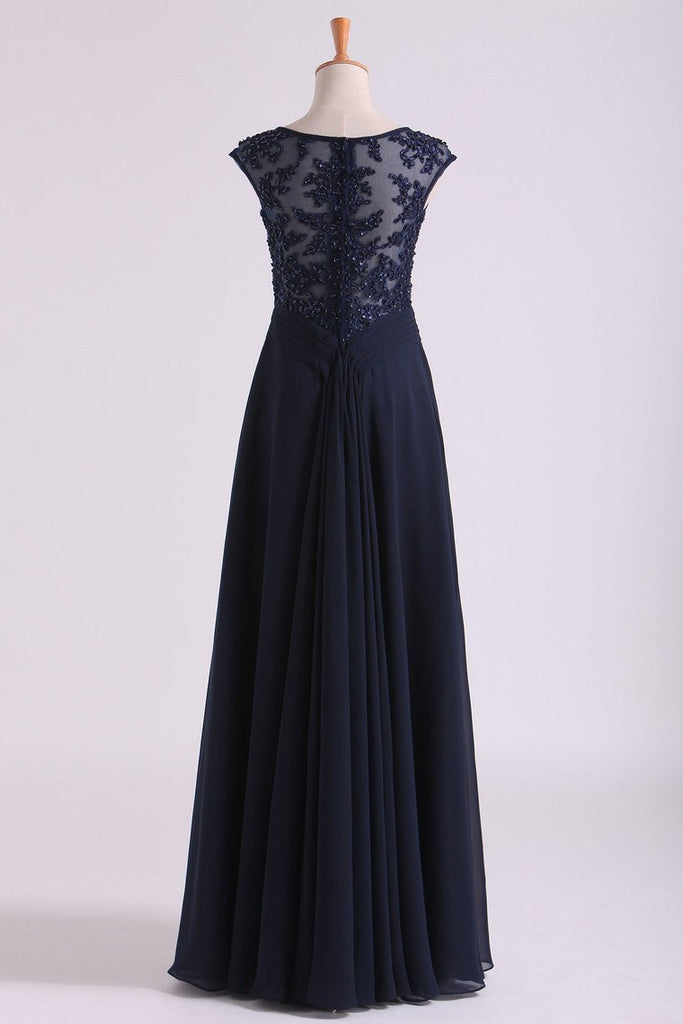 New Arrival Bateau Neckline Embellished Tulle Bodice With Beaded Applique Chiffon